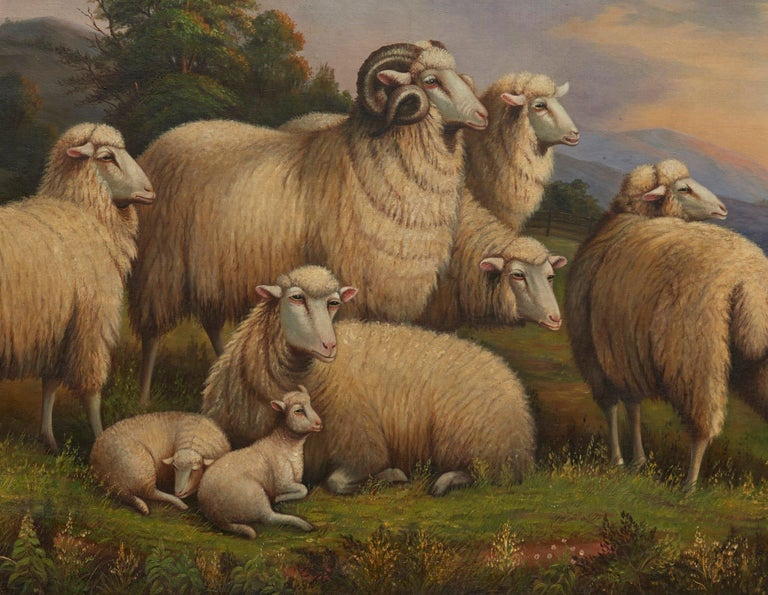 American Sheep in a Landscape For Sale