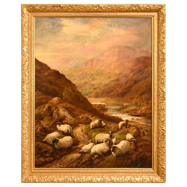 """""""Sheep in Highland Glen"""" Oil painting by Robert Watson For Sale"""