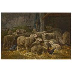 """Sheep Inside a Barn"" French Barbizon Painting by Charles-Ferdinand Ceramano"