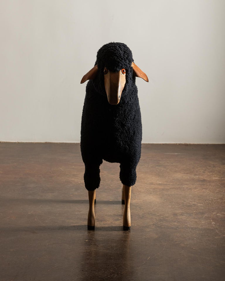 Wool Sheep Sculpture in Black Sheepskin by Hans-Peter Krafft, Germany, 1970s For Sale