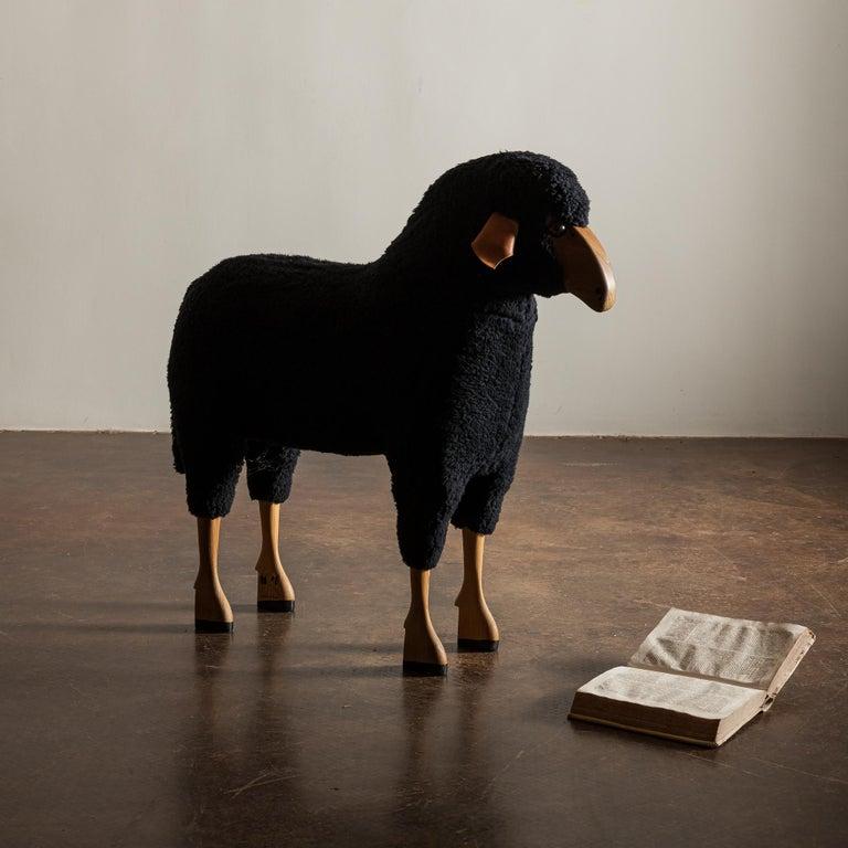 Sheep Sculpture in Black Sheepskin by Hans-Peter Krafft, Germany, 1970s For Sale 1