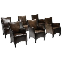 Leather Armchairs in Brown Grey Patina