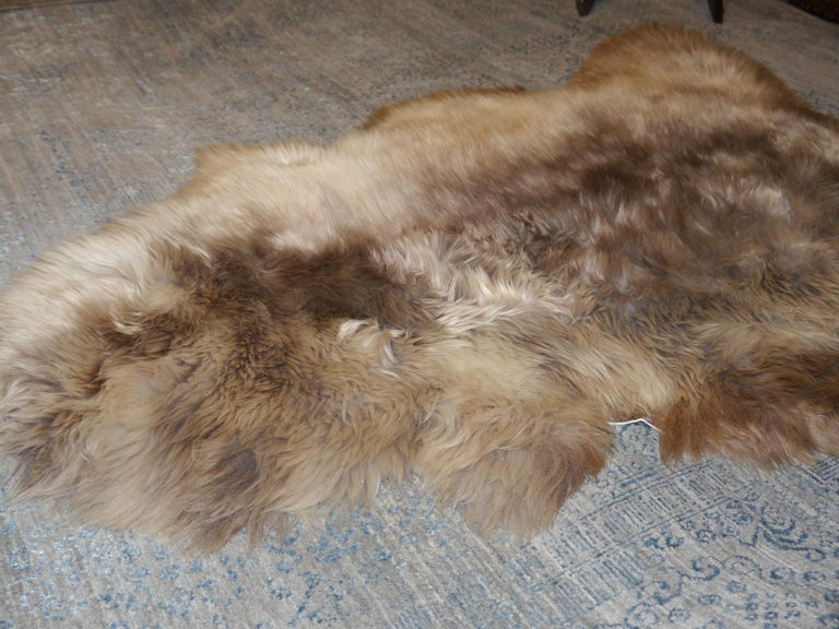 Sheep Skin Rug Bronze Brown Long Hair Grizzly  For Sale 6