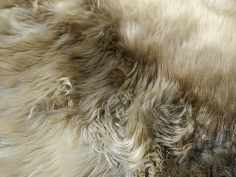 Sheep Skin Rug Bronze Brown Long Hair Grizzly  For Sale 8
