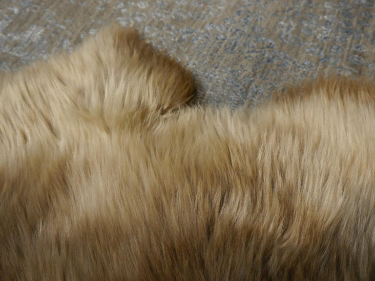 Sheep Skin Rug Bronze Brown Long Hair Grizzly  For Sale 9
