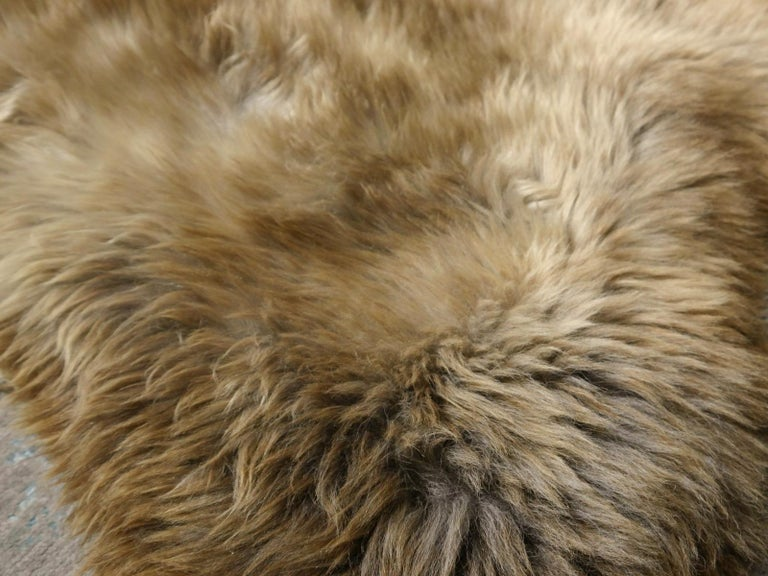 Sheep Skin Rug Bronze Brown Long Hair Grizzly  For Sale 10