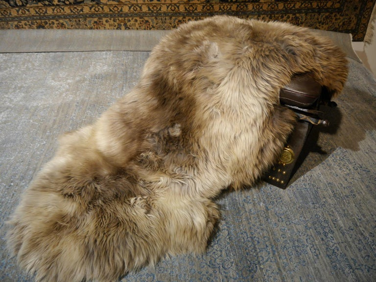 Sheep Skin Rug Bronze Brown Long Hair Grizzly  In New Condition For Sale In Lohr, Bavaria, DE