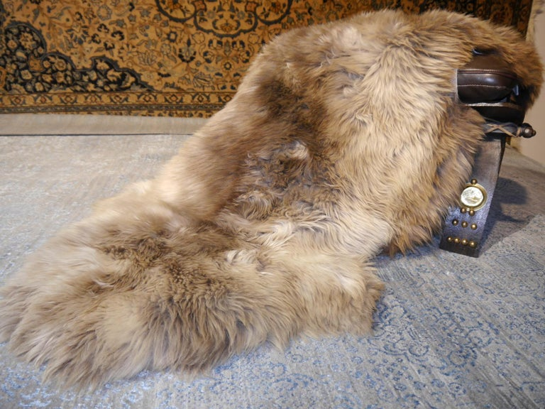 Contemporary Sheep Skin Rug Bronze Brown Long Hair Grizzly  For Sale