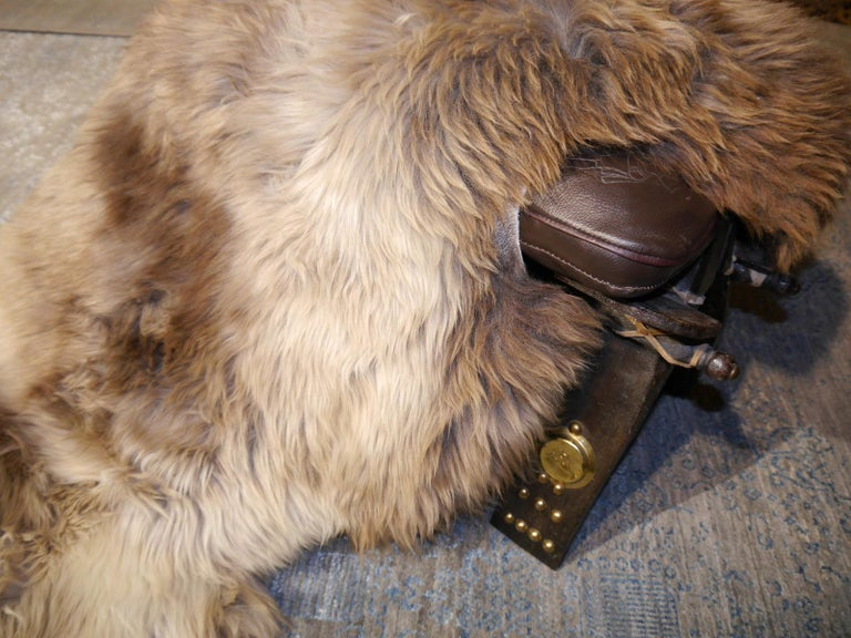 Sheep Skin Rug Bronze Brown Long Hair Grizzly  For Sale 1