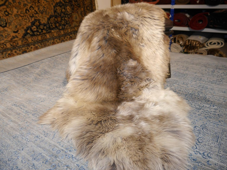 Sheep Skin Rug Bronze Brown Long Hair Grizzly  For Sale 2