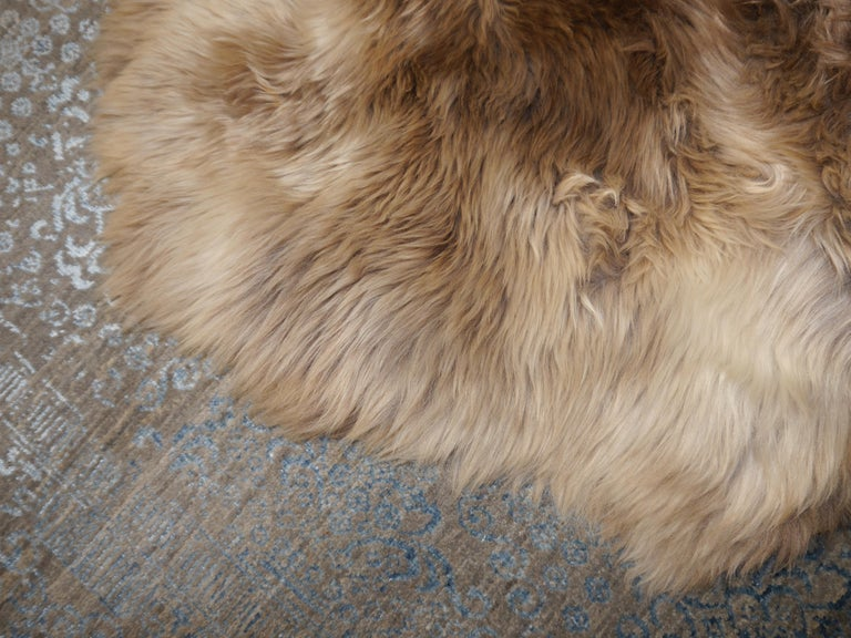 Sheep Skin Rug Bronze Brown Long Hair Grizzly  For Sale 3