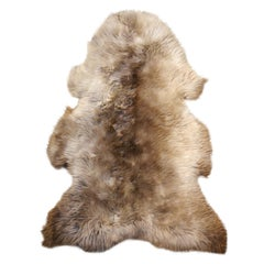 Sheep Skin Rug Bronze Brown Long Hair Grizzly