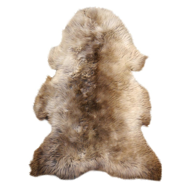 Sheep Skin Rug Bronze Brown Long Hair Grizzly  For Sale