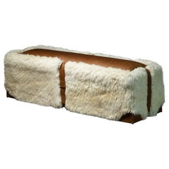 Sheepskin and Leather Custom Contemporary Bench from Costantini, Ovino