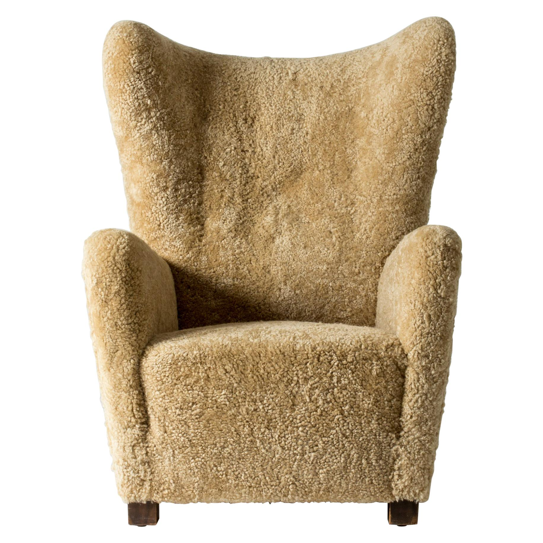 Sheepskin Armchair/Lounge Chair from Fritz Hansen, Denmark, 1930s
