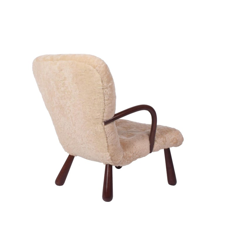 Danish Sheepskin 'Clam' Easy Chair Attributed to Philip Arctander For Sale
