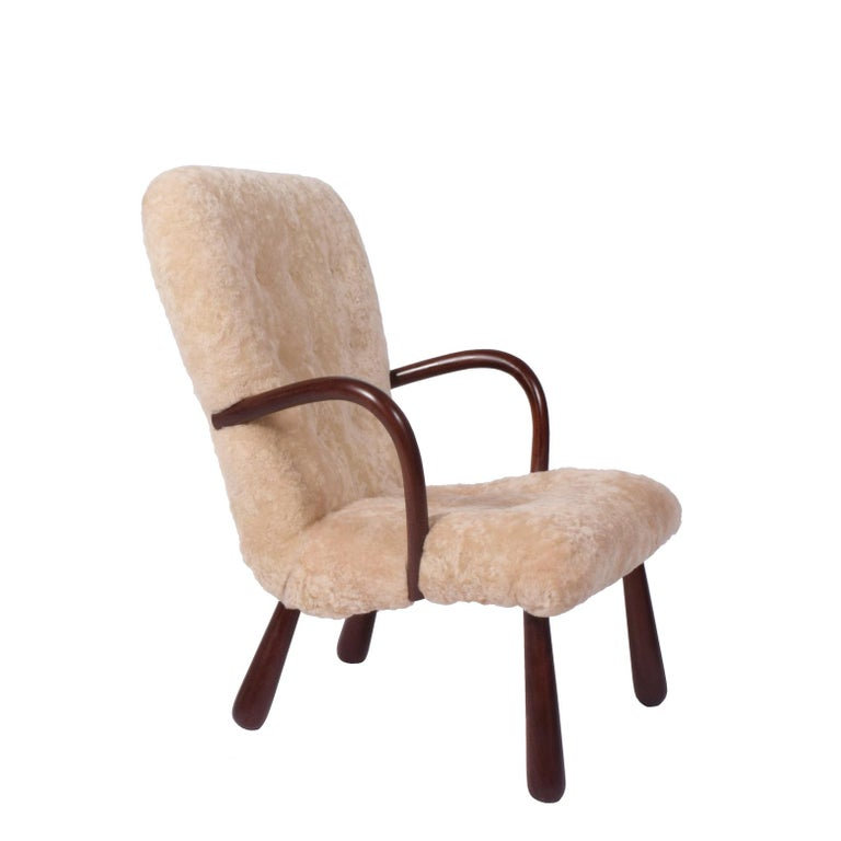 Sheepskin 'Clam' Easy Chair Attributed to Philip Arctander For Sale