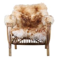Sheepskin Mid-Century Modern Bamboo Armchair Made in Denmark, C.1960