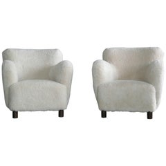 Sheepskin Pair of Club Chairs Attributed to Flemming Lassen Denmark, 1940s