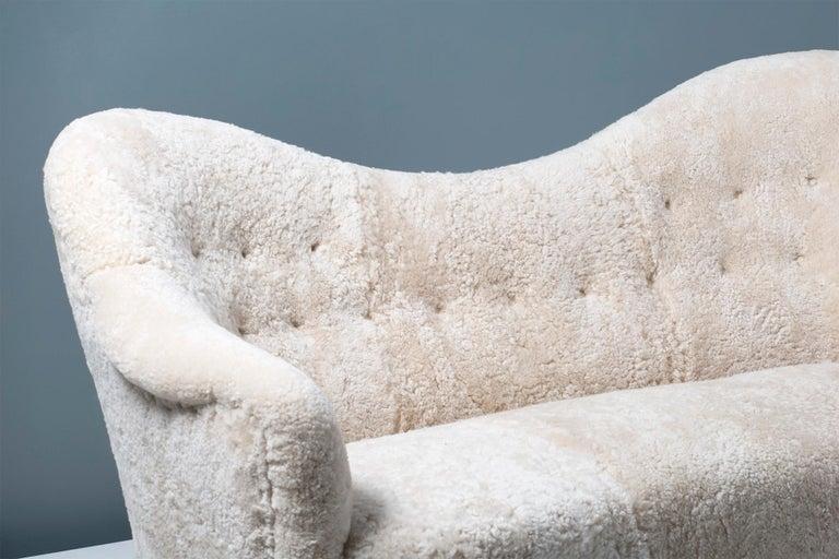 Sheepskin Samspel Sofa by Carl Malmsten, 1956 For Sale 5