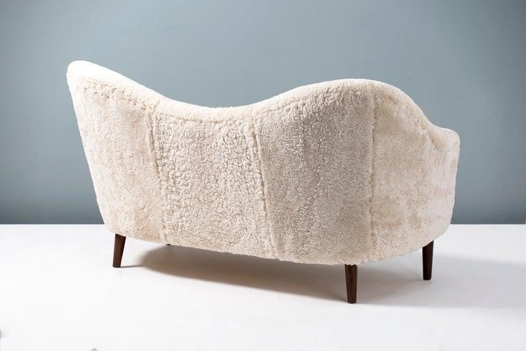 Scandinavian Modern Sheepskin Samspel Sofa by Carl Malmsten, 1956 For Sale