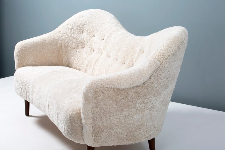 Sheepskin Samspel Sofa by Carl Malmsten, 1956 For Sale 3