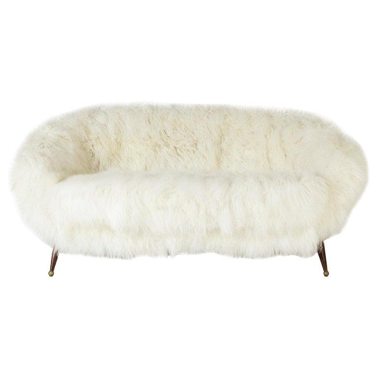 "Sheepskin ""Tellus"" Sofa by Folke Jansson for S. M. Wincrantz, Sweden, 1950s For Sale"
