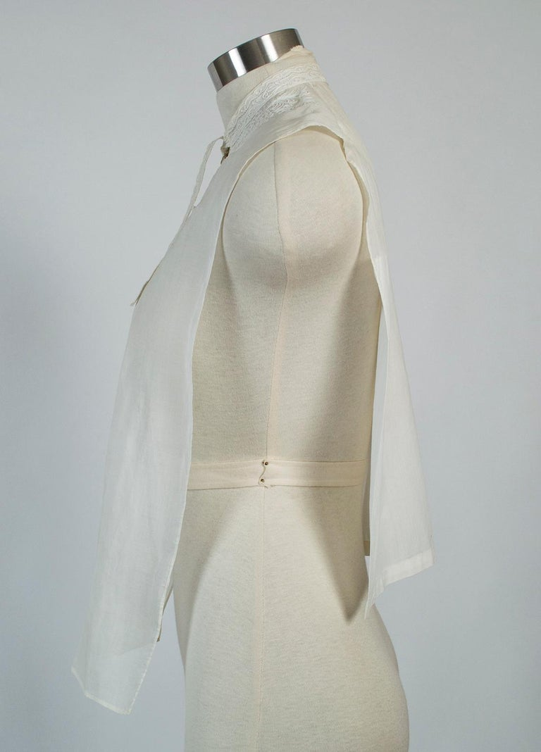 Gray Sheer Edwardian Crewel Work Neckcloth Dickey, 1910s For Sale