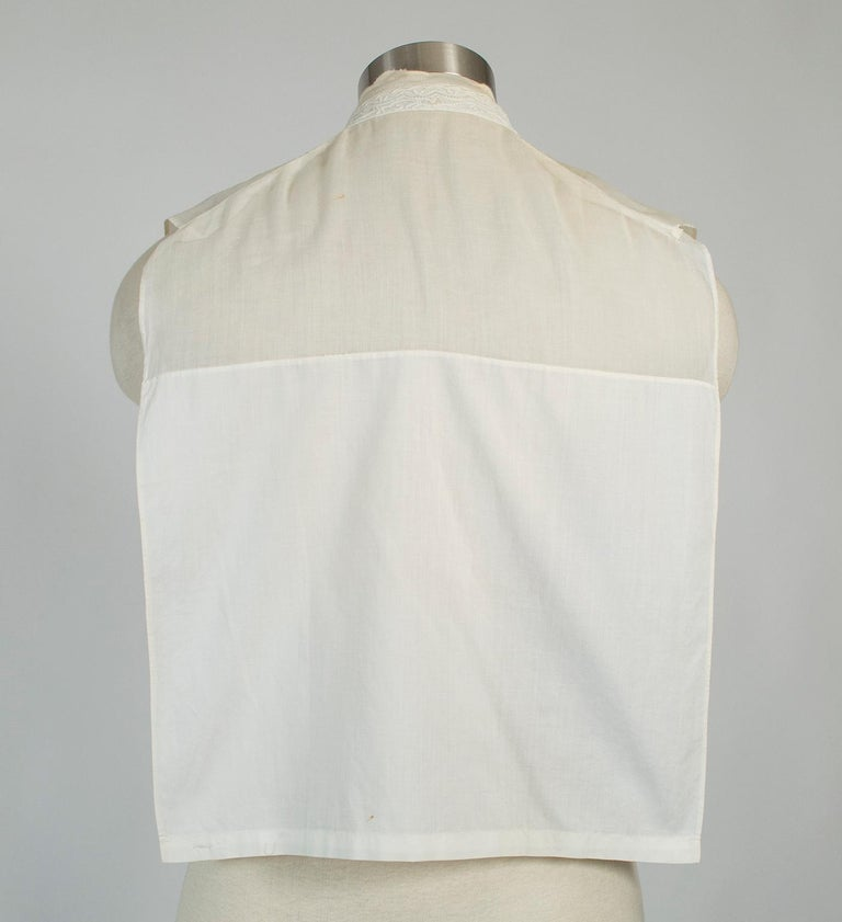Sheer Edwardian Crewel Work Neckcloth Dickey, 1910s In Good Condition For Sale In Phoenix, AZ
