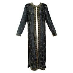 Sheer Indian Black Silk and Gold Bead Kaftan Coat - M-L, 1980s