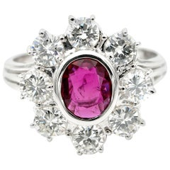 Sheer Quality Natural Thai Ruby 1.80 Carat F IF VVS Diamond Halo Ring