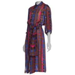 1980S Silk Chiffon Satin Stripe Elastic Waist Dress With Sash Belt