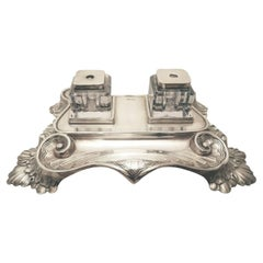 Sheffield 1891 Sterling Silver Tabletop Double Glass Inkwell