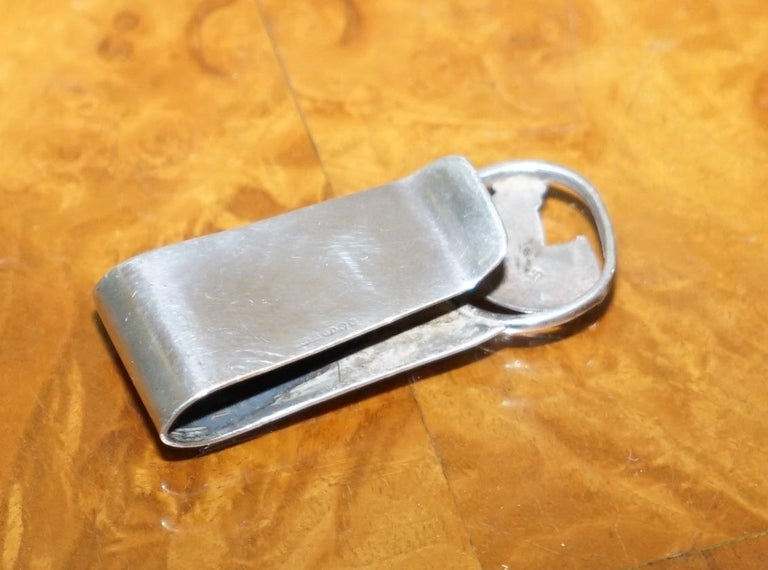 Hand-Crafted Sheffield Made 1997 Sterling Silver Hallmarked Horse Jockey Interest Money Clip For Sale