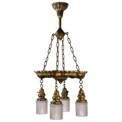 Sheffield Pan Fixture in Brass with Glass Shades