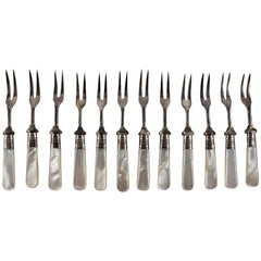 Sheffield Silver & Pearl Handle Antipasto, Seafood or Hors d'Oeuvre Forks- S/12