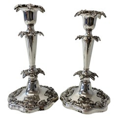 Sheffield Silver Plate Candle Holders W/ Sterling Silver Mounts, Mid 20th C.