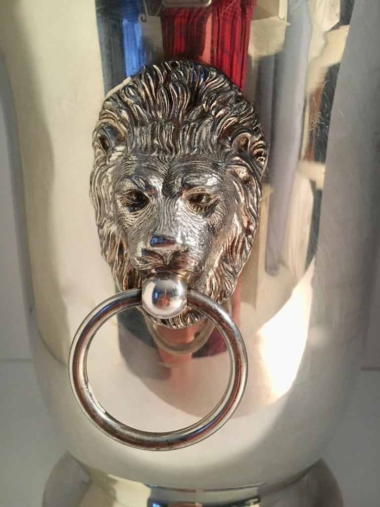 Sheffield Silver Plate Champagne Bucket with Lion Head Handles For Sale 3