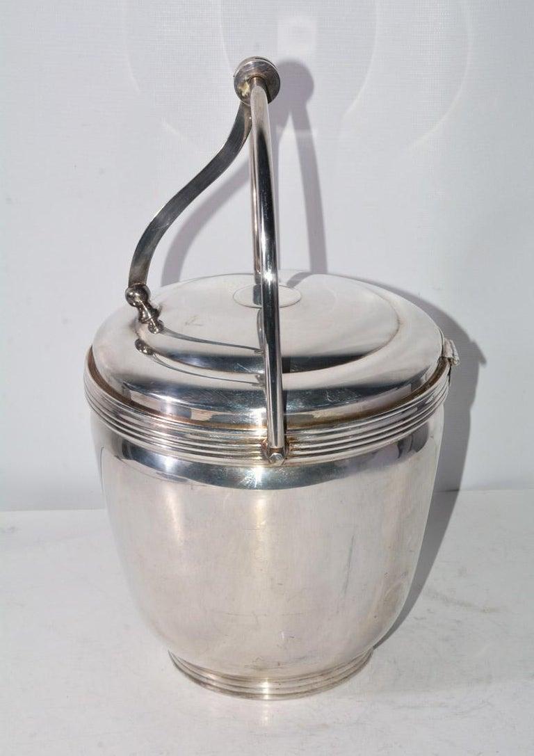 Modern Sheffield Silver Plate Lidded Ice Bucket, USA For Sale
