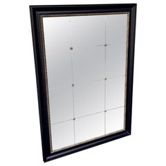 Sheik Neoclassical Black Lacquer Bistro Mirror in the Style of Maison Jansen
