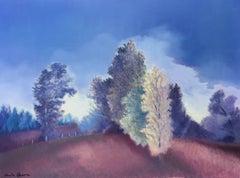 Belle lumière du soir, oil on canvas romantic style