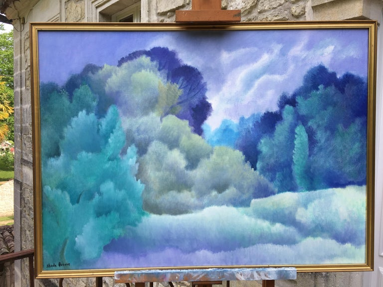 Blue dreams, romantic style - Painting by Sheila Querre