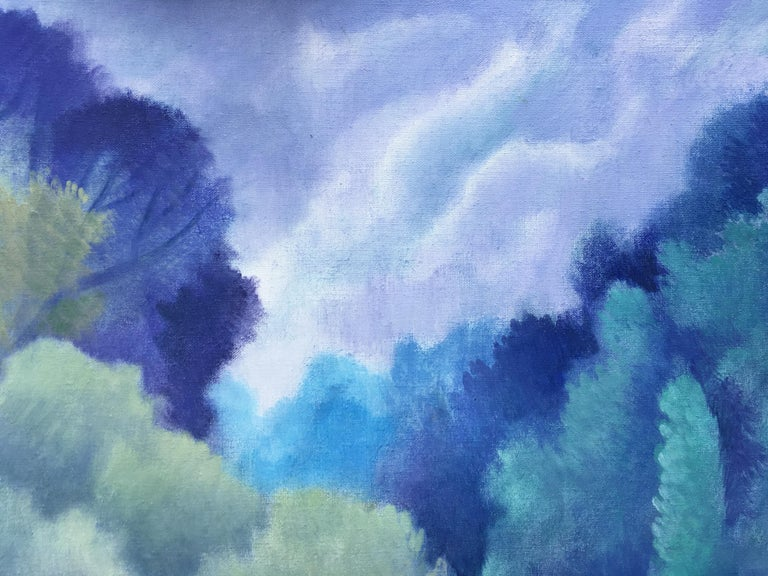 Blue dreams, romantic style - Romantic Painting by Sheila Querre