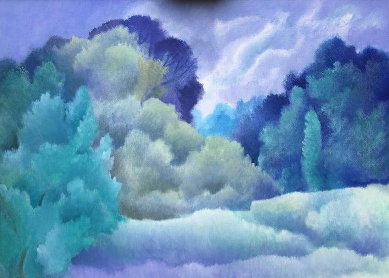 Sheila Querre Figurative Painting - Blue dreams, romantic style