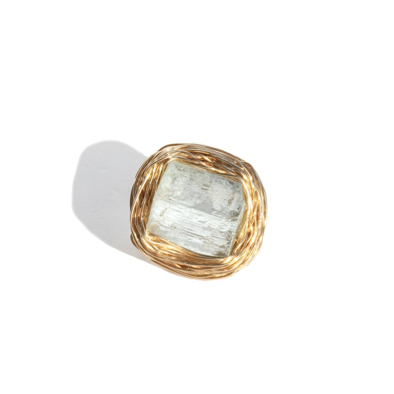 Raw Aquamarine in Gold Statement Cocktail Ring by Sheila Westera London For Sale 1