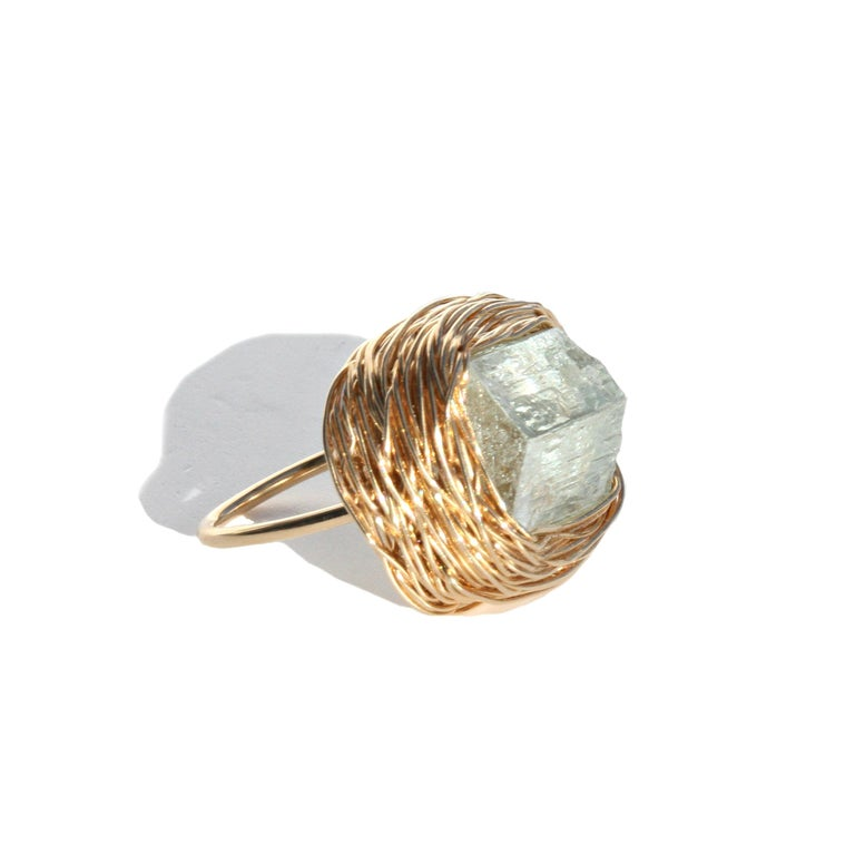 Contemporary Raw Aquamarine in Gold Statement Cocktail Ring by Sheila Westera London For Sale