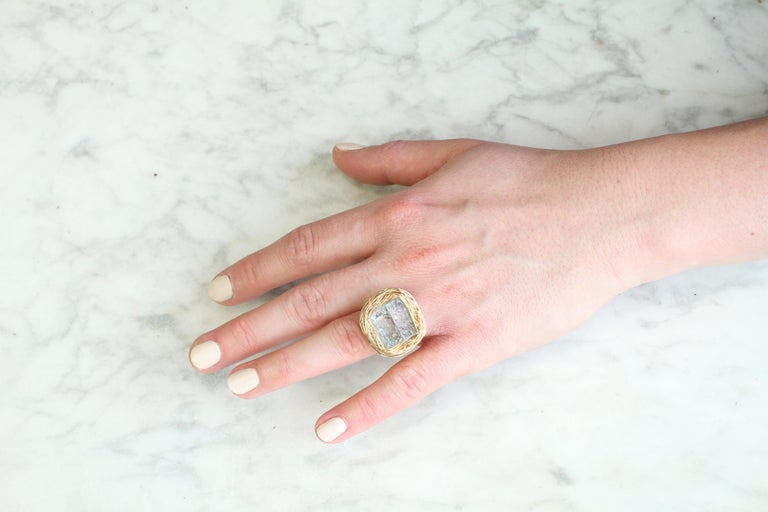 Raw Aquamarine in Gold Statement Cocktail Ring by Sheila Westera London For Sale 2