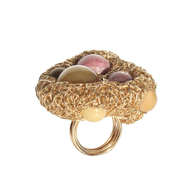 Contemporary Rose Quartz, Mookaite, Agate and Jade in Gold Statement Cocktail Ring by SWL For Sale