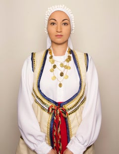 """""""Greek Woman"""", contemporary, photography, selfportraiture, blue, yellow, red"""
