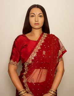 Indian Woman, contemporary, photography, selfportraiture, red, gold